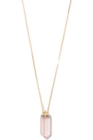 NOOR FARES Women Necklaces - Vara Diamond, Rose-quartz & 18kt Gold Necklace - Womens - Multi