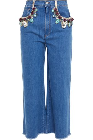 Dolce & Gabbana Woman Embellished Cropped High-rise Wide-leg Jeans Mid Denim Size 40