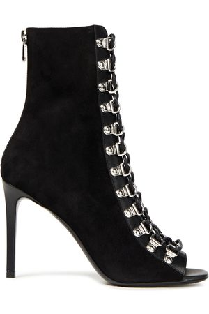 Balmain Women Ankle Boots - Woman Lace-up Leather-trimmed Suede Ankle Boots Size 36