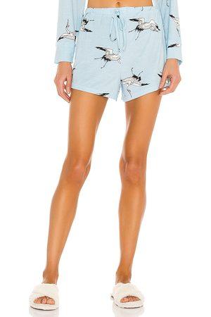 Mina Lisa Jersey High Rise Shorts in Blue.
