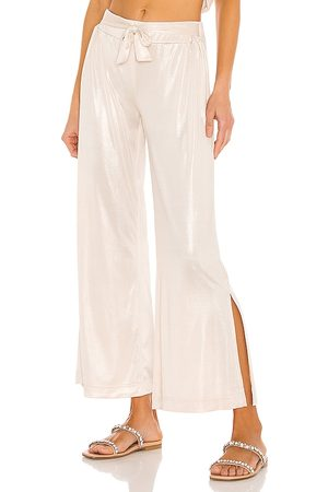 Mina Lisa Soft Sparkle Knit Jersey Pant in Metallic Neutral.