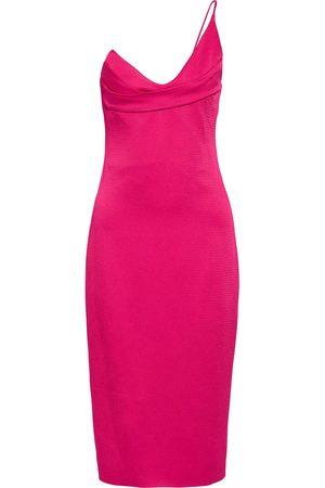 Cushnie Woman One-shoulder Textured Satin-crepe Dress Fuchsia Size 0