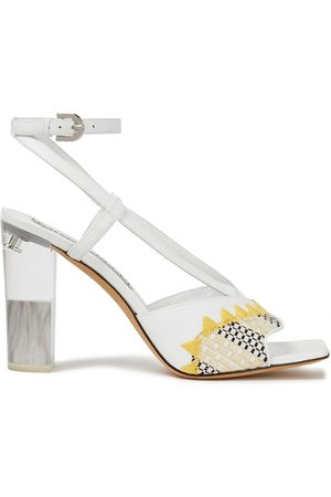 Emilio Pucci Woman Embroidered Woven And Leather Sandals Size 38