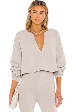 Lovers + Friends Deep V Neck Sweatshirt in Taupe.