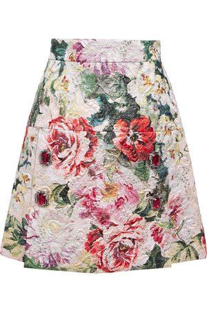 Dolce & Gabbana Women Mini Skirts - Woman Embellished Metallic Cotton-blend Brocade Mini Skirt Size 40