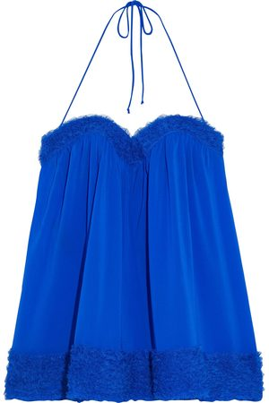 La Perla Woman Ruffled Tulle-trimmed Stretch-silk Chemise Bright Size 0