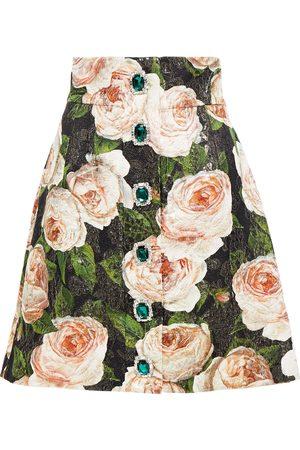 Dolce & Gabbana Woman Embellished Metallic Floral-print Cotton-blend Brocade Mini Skirt Size 36