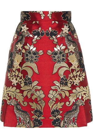 Dolce & Gabbana Woman Pleated Metallic Jacquard Mini Skirt Claret Size 38