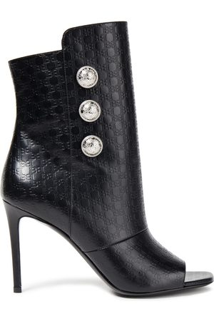 Balmain Woman Button-embellished Logo-embossed Leather Ankle Boots Size 36