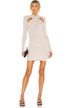 NBD Crossover Mini Dress in Nude.
