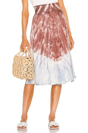 Chaser Stretch Silky Basics Rib Waist Faux Wrap Midi Skirt in Mauve,Blue.