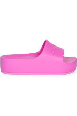 Balenciaga Women's Mono Logo Platform Pool Slides - - Size 12 Sandals