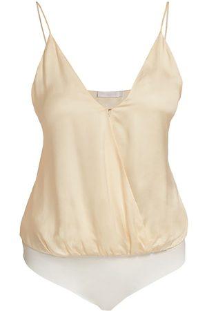 Jonathan Simkhai Standard Women's Elodie Essentials Wrap Cami Bodysuit - Sandstone - Size Large