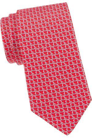 Salvatore Ferragamo Men's Gancini Woven Silk Tie - Rosso