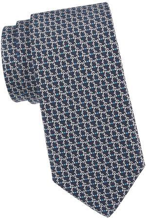 Salvatore Ferragamo Men Neckties - Men's Gancini Woven Silk Tie - Navy