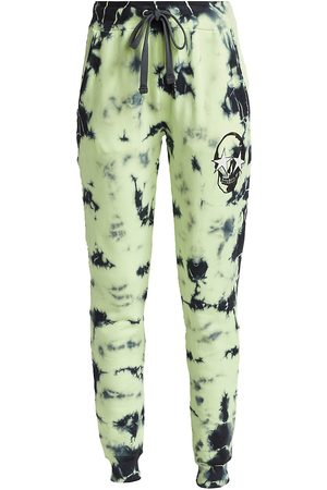 CHRLDR Women's Skull Cloud Sweatpants - Charcoal Lime - Size XL