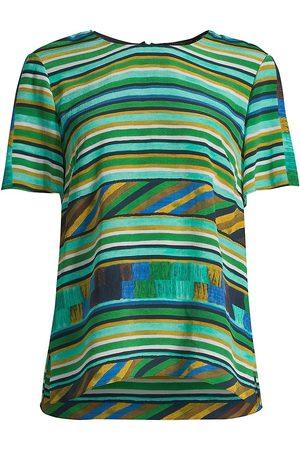 Kobi Halperin Women's Ruby Stripe Patchwork Silk T-Shirt - Field Multi - Size XXL