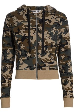 CHRLDR Women's Star Camo Zip-Up Hoodie - Olive - Size XL