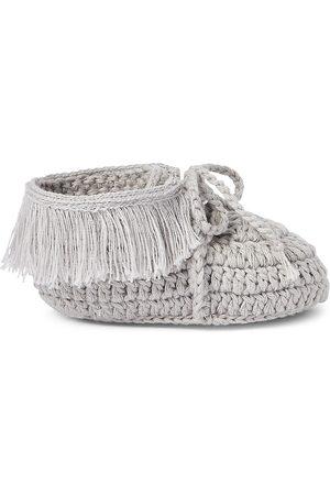 Elegant Baby Baby's Hand-Crocheted Moccasins Booties - Grey - Size Newborn