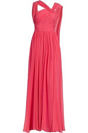 Elie saab Women's Silk Chiffon One-Shoulder Crosshatch Gown - Bouganville - Size 10