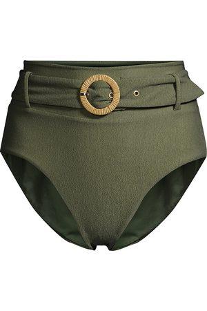 Revel Rey Women's Quinn Belted High-Waist Bikini Bottoms - Verde Crepe - Size Medium