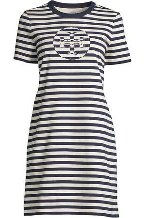 Tory Burch Women's Striped Logo T-Shirt Dress - Tory Navy New Ivory - Size XL