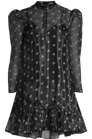 LIKELY Women's Rorra Polka Dot Mini Puff-Sleeve Shift Dress - - Size 0