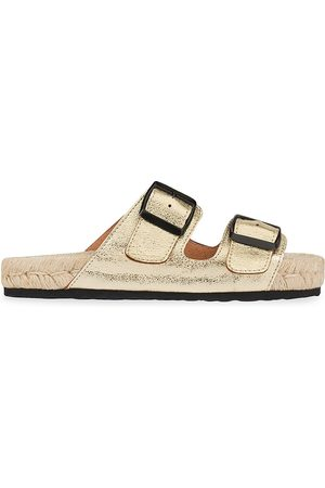 MANEBI Women's Nordic Metallic Leather Espadrille Slides - Mettalic - Size 10 Sandals