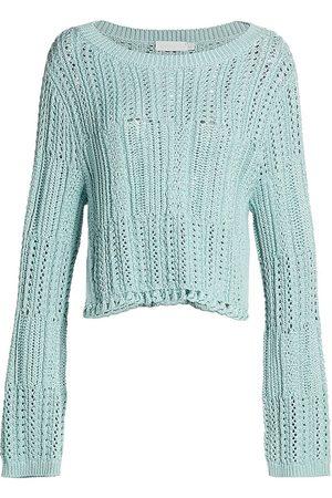 JONATHAN SIMKHAI Women's Amberly Chunky Cropped Pullover - Tidepool - Size XS
