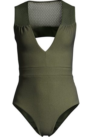 Revel Rey Women's Nora Plunging One-Piece Swimsuit - Verde Crepe - Size Large