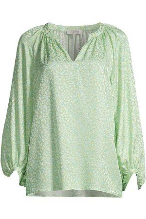 Lafayette 148 New York Women's Norwood Printed Silk Blouse - Julep Multi - Size XL