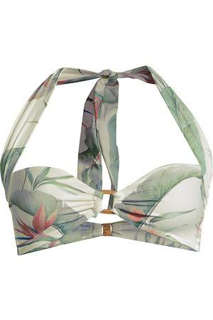 Revel Rey Women's Logan Floral Halter Bikini Top - Isla Leaf - Size XS