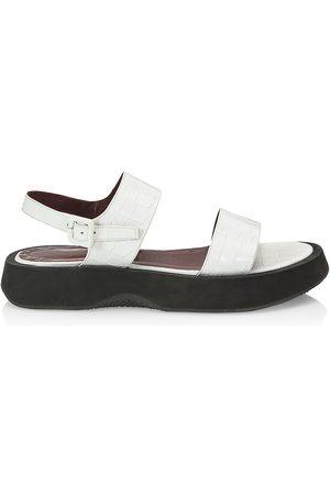 Staud Women's Nicky Croc-Embossed Leather Platform Slingback Sandals - - Size 10