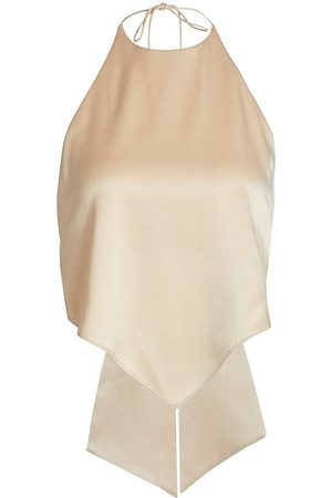 ALICE+OLIVIA Women's Frenchie Handkerchief Satin Halter Top - Nude - Size XL