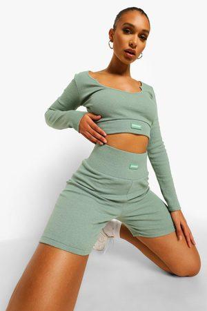 Boohoo Womens Premium Rib Long Sleeve Crop Top - - 2