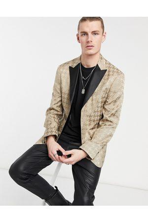 adidas Slim tuxedo blazer with houndstooth jacquard in