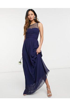 adidas Bridesmaid chiffon maxi dress with pearl embellishment in navy