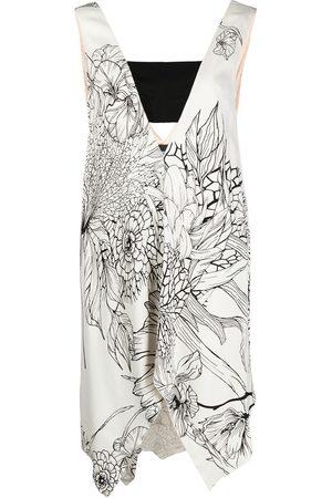 adidas Asymmetric floral-print dress - Neutrals
