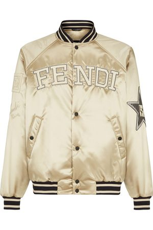 adidas Embroidered logo buttoned bomber jacket - Neutrals