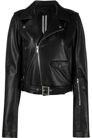 Rick Owens Women Leather Jackets - Asymmetric leather jacket