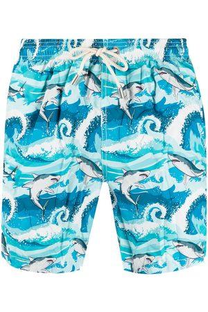 adidas Shark print swim shorts