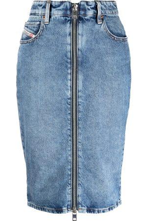 adidas Zipped denim pencil skirt