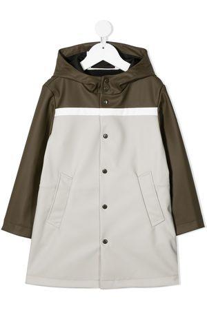 adidas Tricolour-block hooded-raincoat - Neutrals