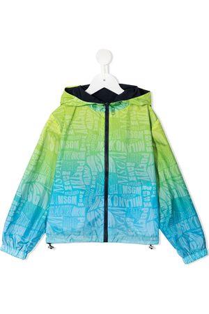 Msgm Boys Sports Jackets - Reversible gradient logo print windbreaker
