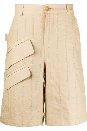 adidas Vertical-stripe Bermuda shorts - Neutrals