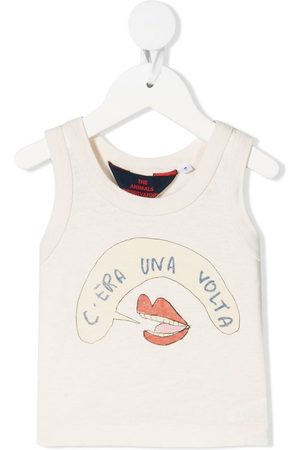The Animals Observatory Tank Tops - Mouth-print cotton tank top