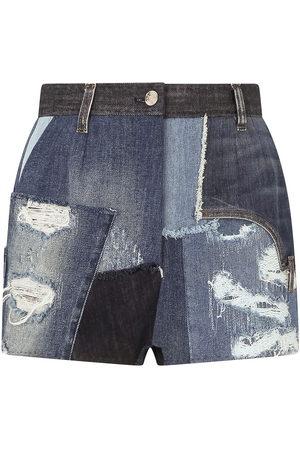 adidas Distressed patchwork denim shorts