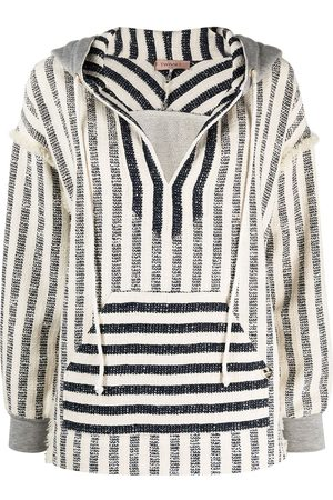Twin-Set Striped oversized-fit knitted hoodie - Neutrals