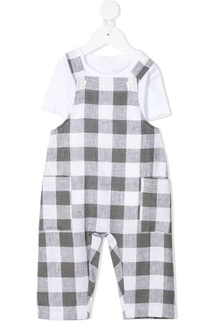 Il gufo Gingham check dungarees - Grey
