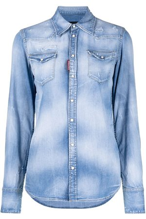 adidas Distressed stonewashed denim shirt